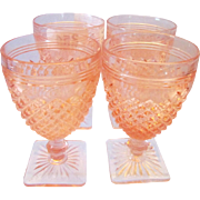 Four Anchor Hocking Pink Miss America Juice Goblets