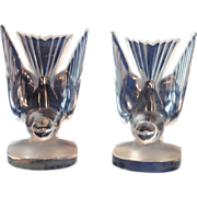 SOLD Pair of Lalique Frosted Art Glass Hirondelle Bird Bookends