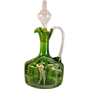 Mary Gregory Green Glass Decanter with a Boy Blowing a Horn
