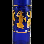 SALE Val St Lambert Art Glass Danse de Flore Cobalt Blue Bud Vase
