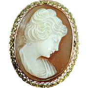 SALE Edwardian Shell Cameo Pin or Pendant Mounted in a 14 K White Gold Setting
