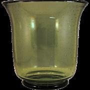 Steuben Spanish Green Art Glass Vase with Random Air Bubbles