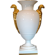 Portuguese Vista Alegre White Porcelain and Gold Gilt Urn or Vase with Griffin Handles