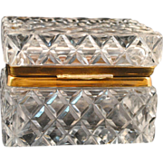 Cut Glass Crystal Hinged Jewelry Casket or Trinket Box