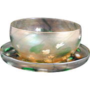 LCT Tiffany Favrille Art Glass Bowl and Under-plate with Millefiori Waterlily Decoration