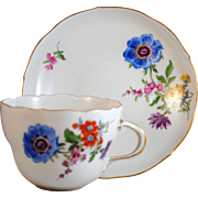 Meissen Blue Floral Cup and Matching Saucer First Quality