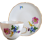 Meissen Pink Floral Cup and Matching Saucer First Quality