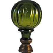 Olive Green Glass Newel Post Finial