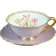 Shelley Light Lavender or Purple Oleander Shape Stocks Cup & Saucer