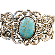 Sterling Silver & Turquoise Dane Craft Cuff Bracelet