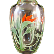 Orient & Flume Art Glass Paperweight Vase S Beyers Fire Plant