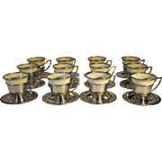 Set of 12 Sterling Silver Demitasse Cups & Saucers with Lenox Liners