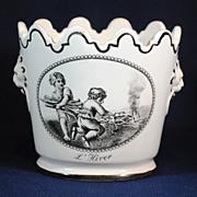 Mottahedeh French Toile Black & White Scene Cache Pot Jardinier Bowl Italy