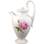Meissen Pink Rose Coffee Pot with Swan Handle