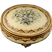 French Enamel on Copper Jewelry or Trinket Box with Lily of the Valley Decoration