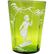 Green Mary Gregory Tumbler Girl on Swing