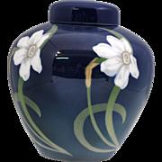Royal Copenhagen Ginger Jar Vase with Art Nouveau Jonquil Decoration