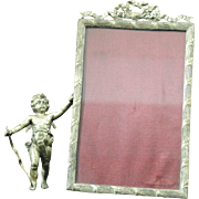 Victorian Figural Silver Plate Photo Picture Frame with Cupid or Cherub with Bow