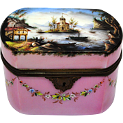 Hand Painted Glass Hinged Box or Jewelry Casket