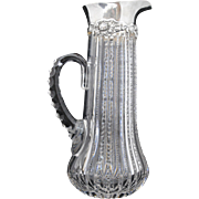 American Brilliant Period Cut Glass Pitcher with Gorham Chrysanthemum Sterling Silver Top