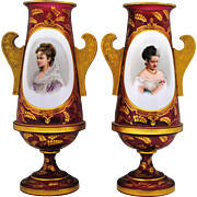 Pair of Victorian Moser Style Cranberry Bohemian Art Glass White Overlay Portrait Vases with .