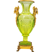 Baccarat Style Vaseline Cut Glass Vase or Urn with Brass Swan Handle Mounts