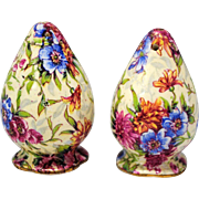 Royal Winton Grimwades Mayfair Chintz Egg Shape Salt and Pepper Shakers