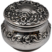 Gorham Sterling Silver Floral Repousse Powder Box