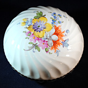 Nymphenburg German Ceramic Trinket, Powder or Jewel Box with Hand Painted Flowers