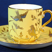 Minton China Aesthetic Period Gold & Silver Gilt Enamel Demitasse Cup & Saucer