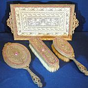 E & JB Empire Art Gold Jeweled Dresser Vanity Set Mirror, Tray & 2 Brushes