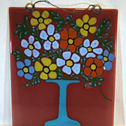 Higgins Art Glass Wall Plaque of a Vase with Flowers