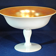 Steuben Gold Aurene on Calcite Art Glass Compote