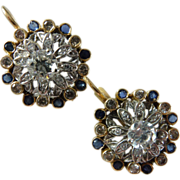 Vintage Diamond and Sapphire Cocktail Dangling 14kt Gold Dangling Pierced Earrings