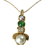 An Antique Chinese 18kt Gold Old Cut Diamond, Cultured Pearl and Imperial Jade Pendant Necklac