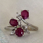 A Vintage  Natural Deep Red Ruby and Diamond 18kt White Gold Ring - Bridget