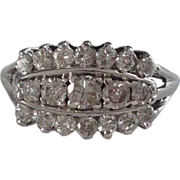 A Vintage Diamonds in 14kt White Gold Cocktail Ring - Patricia