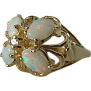 A Vintage Unique Vibrant Opal and Diamond 14kt Yellow Gold Flower Ring - Blossom