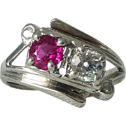 A Vintage, Art Deco Ruby and Old Cut Diamond 14kt White Gold Ring - Ernestine