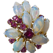 SALE A Marquise Natural Opal and Ruby 14kt Gold Cocktail Statement Ring - Myrtle