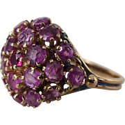 An Antique Victorian Natural Ruby 14kt Rose Gold Statement Cocktail Dome Ring - Geneva