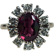 A Natural Red Rubellite Tourmaline and Diamond Flower Ring in 18kt White Gold - Helen