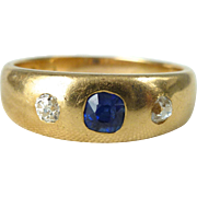A Very Fine Antique Old Cut Sapphire and Diamond Mens Wedding 18kt Yellow Gold Ring ...