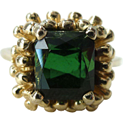 A Vintage Green Tourmaline in a Unique 14kt Yellow Gold Ring - Zola