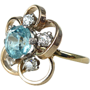 An Antique Natural Blue Zircon and Old Cut Diamonds in 18kt Yellow Gold Flower Ring ...