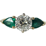 A .99 Carat Old Cut Diamond and Pear Shaped Emerald Engagement Ring in 14kt Yellow ...