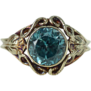 A Vintage Natural Blue Zircon in 14kt Yellow Gold Ring - Alarice