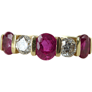 A Fine Vintage Ruby and Diamond 18kt Gold Wedding Eternity Band Ring - Tatiana