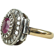 A Natural Ruby and Diamond Unique Engagement Ring in 10kt White and Yellow Gold - Rapunzel