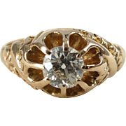An Antique Victorian Old Cut Diamond in a Detailed 14kt Yellow Gold Engagement Ring - Marianne